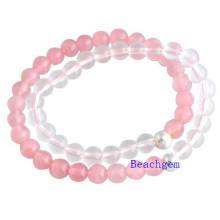 Natural Rose Quartz and White Crystal Beads Bracelet (BRG0016)