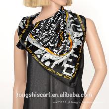 2016 moda cetim seda pura preto e branco com padrão de letras