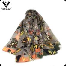 2016 Nueva bufanda de seda 100% Mulberry de la flor de mariposa del estilo
