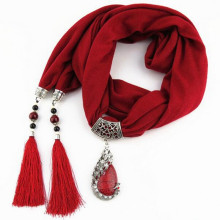 Fashion Women's Elegant Charm Tassels Rhinestone Decorated Jewelry Pendant Necklace Scarf with Various Colors