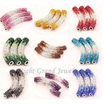 Mixed Color Rhinestone Paved Bending Tube Beads Shamballa Beads Findings