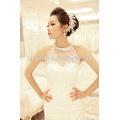 оптовая Корея стиль большой хвост цветок цветочный белый цвет бисера кружева люкс свадебное платье