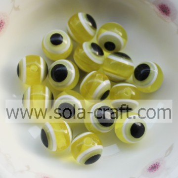 Turno all'ingrosso grosso 10 MM 500Pcs giallo perline resina solida per collana e bracciale