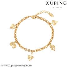 Pulseira quente generosa da mulher da venda da forma da jóia 73917-Xuping com o ouro 18K chapeado