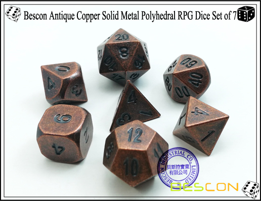 Bescon Antique Copper Solid Metal Polyhedral RPG Dice Set of 7-2