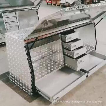 Caixa de armazenamento de ferramenta de ute grande personalizado verificador de alumínio para caminhonetes