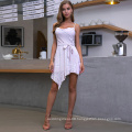 Weixin Fashion Wholesale Ladies Shein Sleeveless Halter Knotted Print Casual Summer Dress