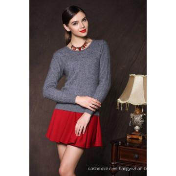 suéter de invierno muy cálido y suave suéter de las mujeres suéteres de cachemira de visón o-cuello delgado que basa la camisa jersey grueso suéter