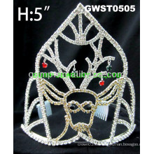 Corona de la tiara del rhinestone del día del día de fiesta