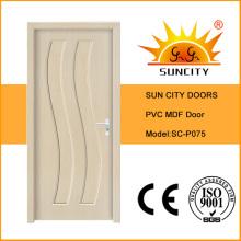 Preiswerterer Preis wasserdichte MDF PVC-Toiletten-Tür mit Glas (SC-P075)