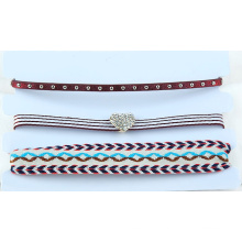 Multi colorido conjunto de três linhas de gargantilha de tecido flor