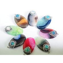 Hot Sale Multi-Color Precius Gemstone Agate Crystal Pendentif Collier Charms