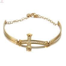 Hip Hop Perle Kristall Jesus Schmuck Armbänder, Edelstahl Manschette Vergoldet Kreuz Jesus Armband