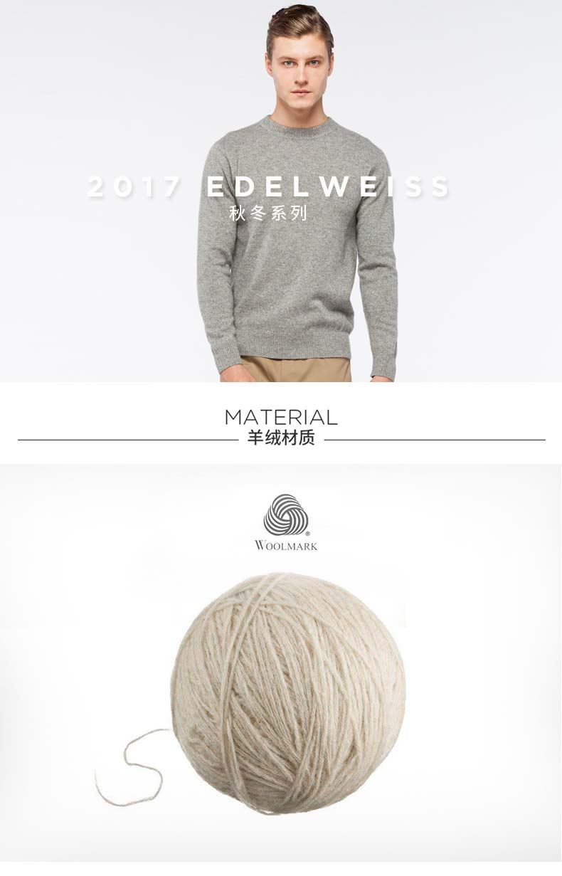 Men's cashmere crew neck pullover