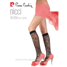 Pierre Cardin Women Ladies Ultra Sheer Thin Pattern Knee High Socks 15 Denier
