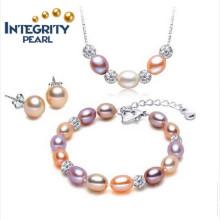 Ensemble de bijoux à perles à la vente chaude Ensemble de perles à perles argentées AAA 925 à 7-8mm