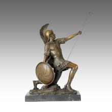 Soldaten Figur Statue Speer Römischer Krieger Bronze Skulptur TPE-371