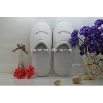 cheap soft white personalized close toe embroidered velvet hotel slipper man