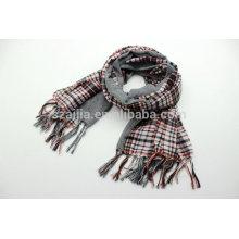 Moda feminina 100 lenço de xadrez de algodão