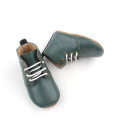 Olive Green Leather Kids Stövlar Casual Shoes
