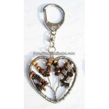Tigereye chip piedra afortunada árbol Llavero de piedras preciosas de forma de corazón, lápices colgantes de piedras preciosas, piedra llavero