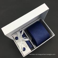 Seda Marinha sólida Jacquard Grosgrain Gravata Cufflink Hanky Set com Caixa de Presente
