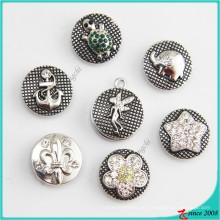 Novo strass liga Snaps botão de charme para pulseiras de couro