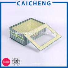 Custom CMYK Printed Flip Paper Packaging Box With PVC Window