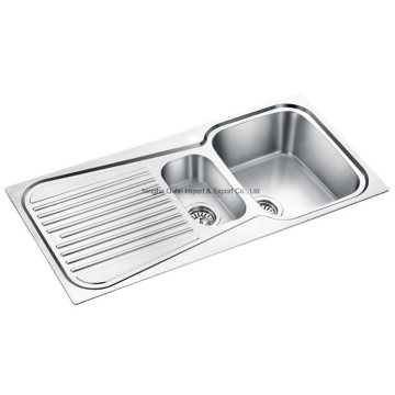 Strainer Board Double Bowl Kitchen Sink, 20-Gauge, Stainless Steel, 33 X 22 X 8 in. New