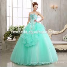 Vestido de bola vintage de vestidos de noiva de ombro Cinderella Vestido de desempenho azul claro para vestidos de noite de meninas 2017