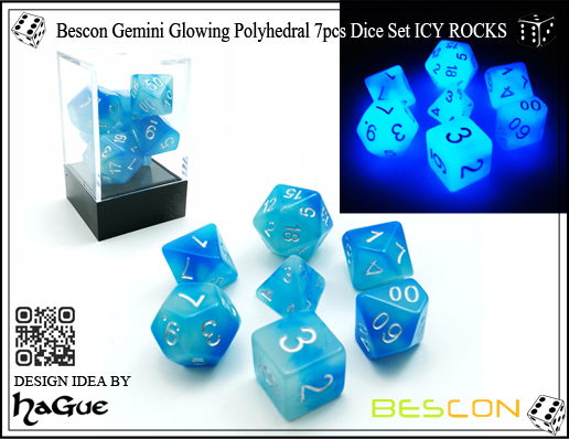 Bescon Gemini Glowing Polyhedral 7pcs Dice Set ICY ROCKS-New Version-1