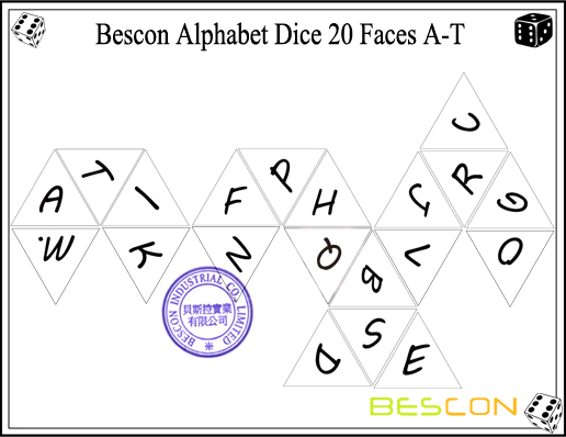Bescon Alphabet Dice 20 Faces A-T-6