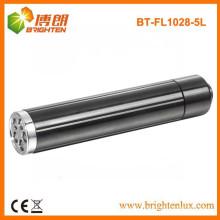 Vente en usine 1AA Batterie à mât en métal noir Aluminium 5 led Mini Torch Lampe de poche