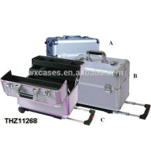 2014 professional&strong rolling beauty case with 4 trays inside