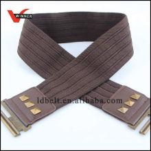 Hot Sale Dark Brown with Rivet Women's Elastic Belt