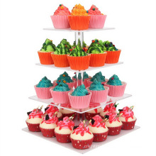 Wedding Acrylic Tiered Cake Stand, Dessert Or Cupcake Tower 4 Tier Square Cupcake Stand