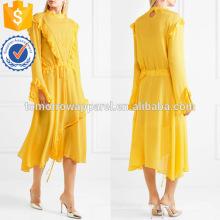 Асимметричная Раффлед с длинным рукавом желтого цвета Миди летние ежедневные платья Производство Оптовая продажа женской одежды (TA0022D)