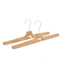 Wholesale custom logo wooden clothes hangers for brand shop with Non slip shoulder