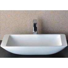 Lavado a mano diseño moderno lavabo de mármol baño blanco (BS-8324)
