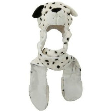 Dalmatian animal hat with scarf and mittens combo