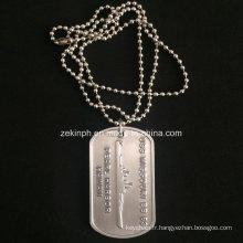 Personnalisée en aluminium argenté brillant Dog Tag pour nous armée Collection