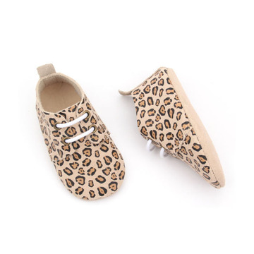 Leopard Back Strap Soft Sole Baby Oxford Shoes