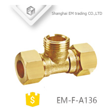 EM-F-A136 rosca macho tipo Tee encaixe de tubulação de latão com duplo conector rápido
