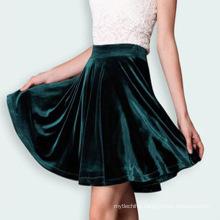 Wholesale adult girls winter short skirts Ladies green velvet skirt