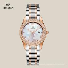 Qualitäts-kundengebundene Quarz-Edelstahl-Uhren für Damen 71061