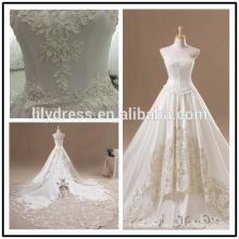 Lace Appliqued Satin Floor Length Custom Made Long Formal Bridal Design Robe De Mariee HS238 wedding dresses with long trains