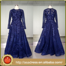 ASAM-07 Floor Length Zipper Back Tulle Lace Pearls Beaded Flowers Long Sleeves Blue Evening Dress