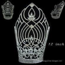 Acessórios de cabelo prata banhado cristal cheio coroa de tiara de representação alta para as mulheres