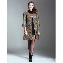 2017 Moda bordado Senhoras Casacos compridos Mulheres