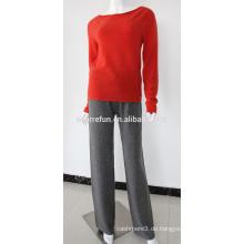 Frühling tragen 12gg flach gestrickte 100% Frauen Kaschmirhosen